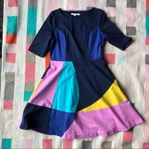 Boden color block Alice dress in navy; like new!